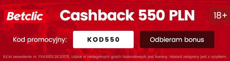 betclic polska bonus cashback 550