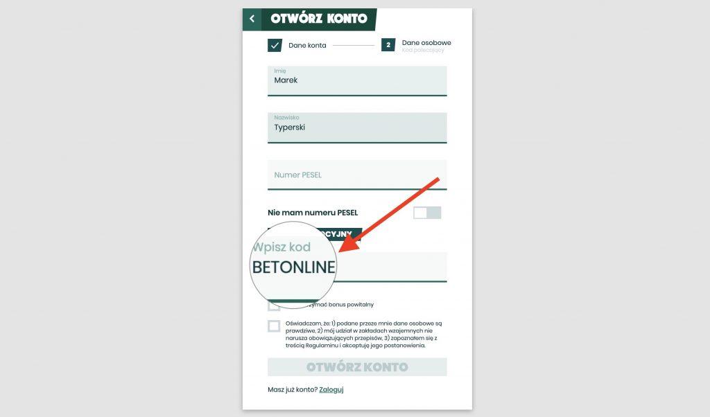 Betfan rejestracja. Bonus na start